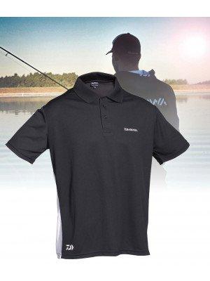 Daiwa D-Vec Poloshirt, Gr. L, schwarz/weiß