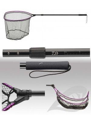 Daiwa Prorex Klapp-Bootskescher, 80x70cm, teleskopisch, Netz mit Silikonbeschichtung