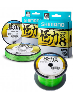 Shimano Kairiki SX8, 150m, hellgrün, 8fach geflochtene Angelschnur